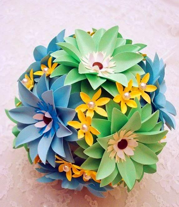 Цветочные шары из цветной бумаги своими руками 80