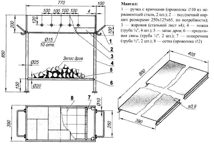 чертеж мангала