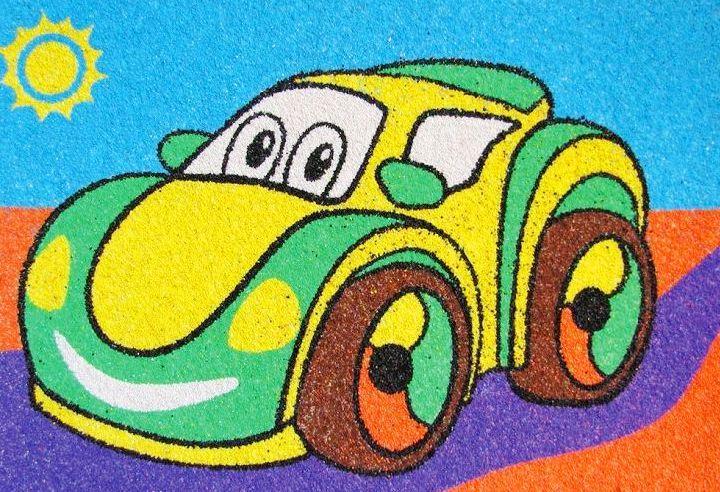 Открытка для детей машина, школьные для начальных