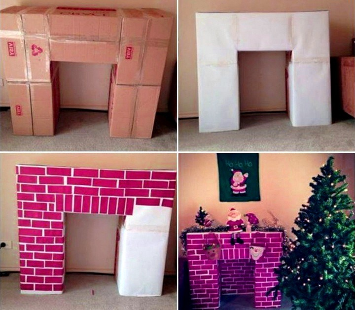how to make a fake fireplace out of cardboard boxes