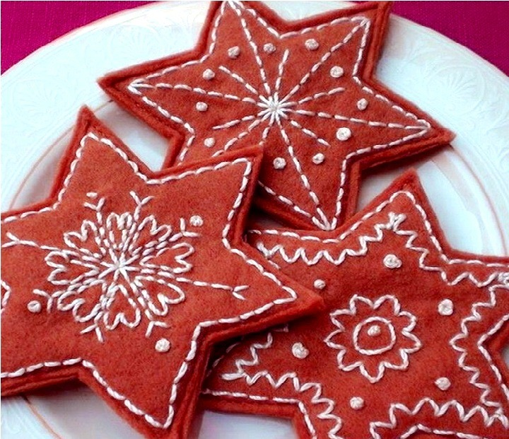 снежинки из ткани