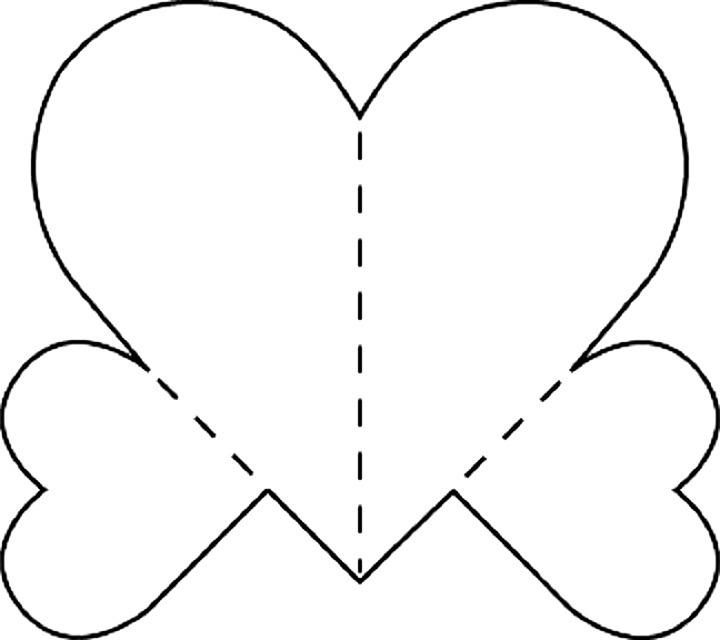 1952 год, трафарет сердце для вырезания открытка