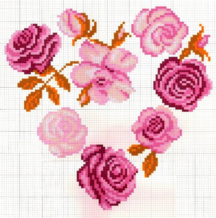 сердце из роз вышивка