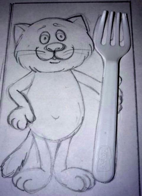 кот с вилкой рисунок