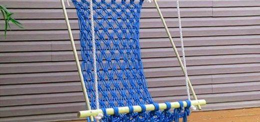 плетеный гамак для дачи