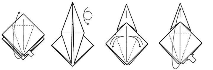 оригами схема журавлика