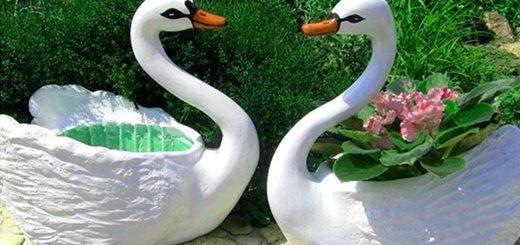 кашпо лебеди