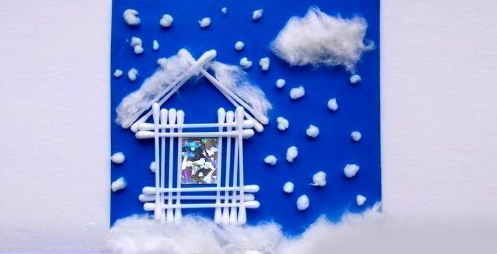 домик из ватных палочек