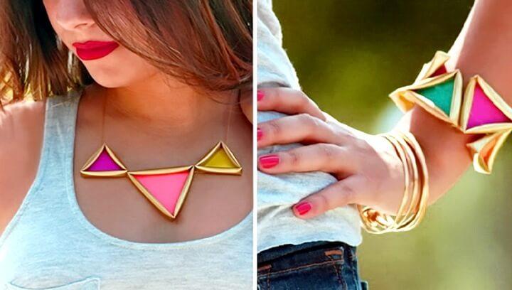 браслет и ожерелье из соломинок