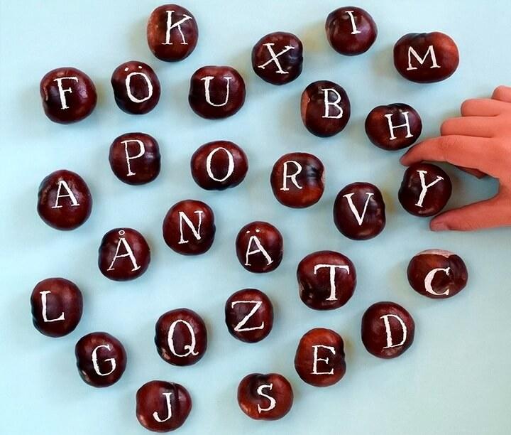 алфавит из каштанов