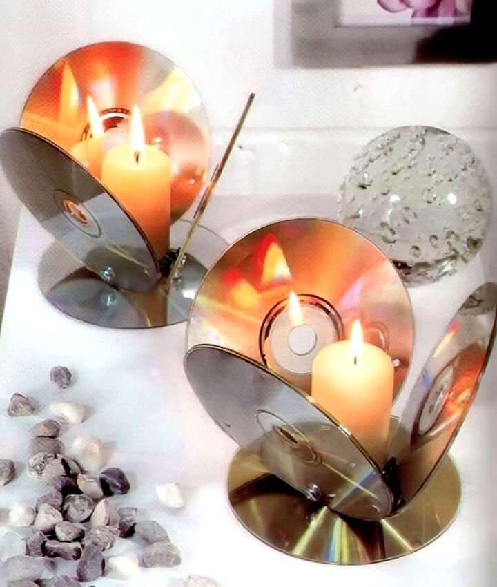подсвечники из дисков
