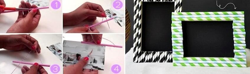 рамки для фото из соломинок