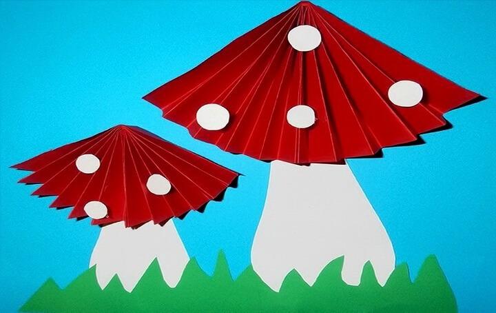 грибы из бумаги