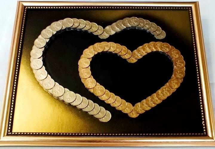 сердца из монеток