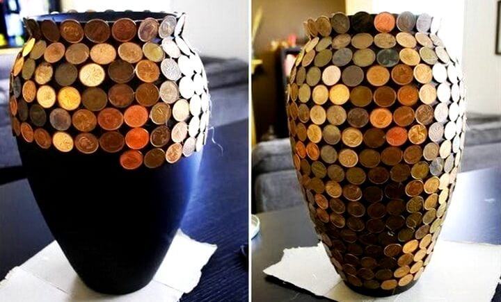 декор вазы монетками