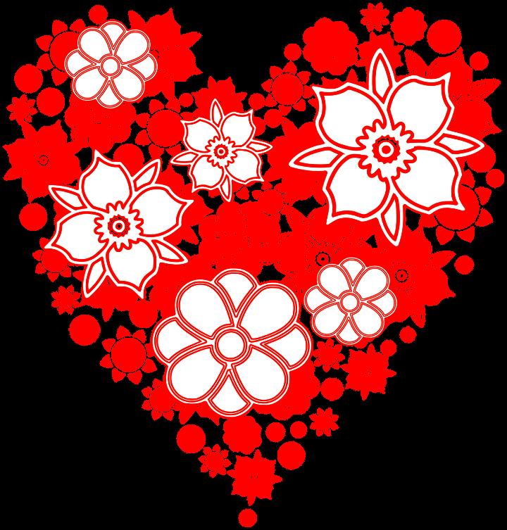 шаблон цветочное сердца