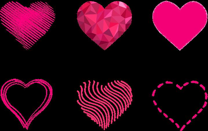 шаблон розовые сердца