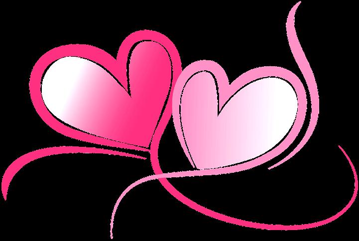 шаблон два розовыъх сердца