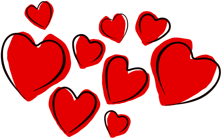шаблон рисованные сердечки