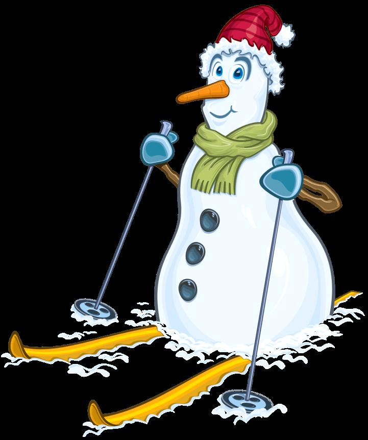шаблон снеговик на лыжах