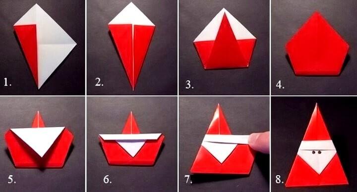 оригами санта клаус