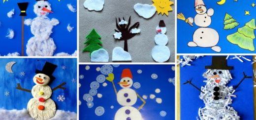 аппликации снеговиков