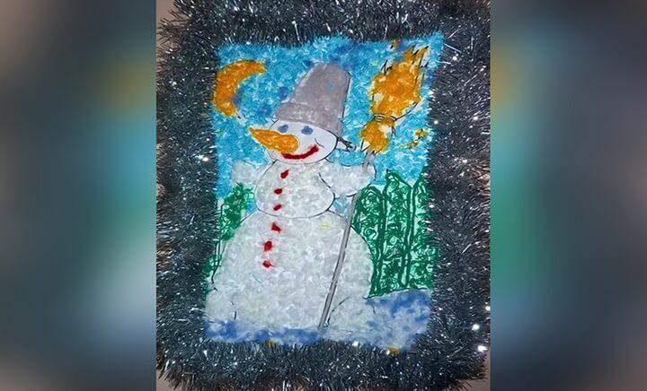 снеговик из круп