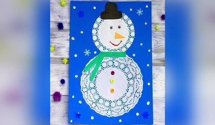 снеговик из салфетки