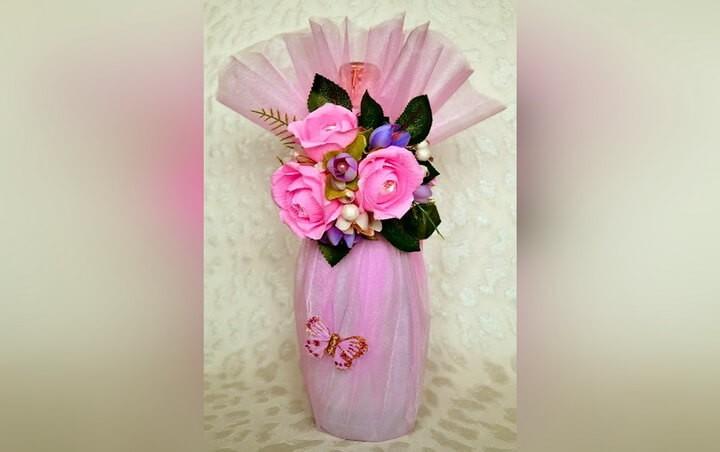 декор бутылки цветами из бумаги