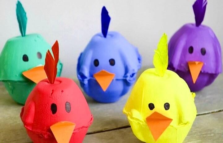 птички из из яичных лотков