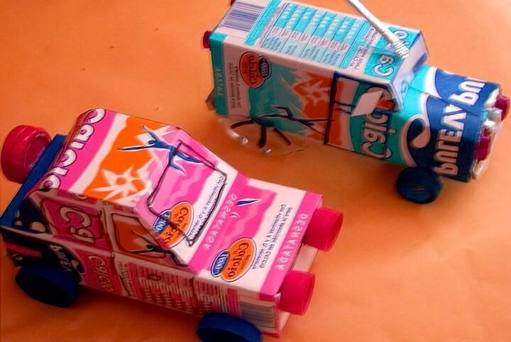 машинки из коробок от молока