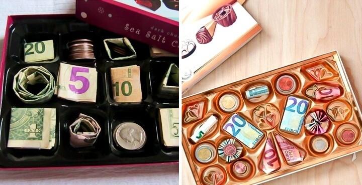 деньги в коробке конфет