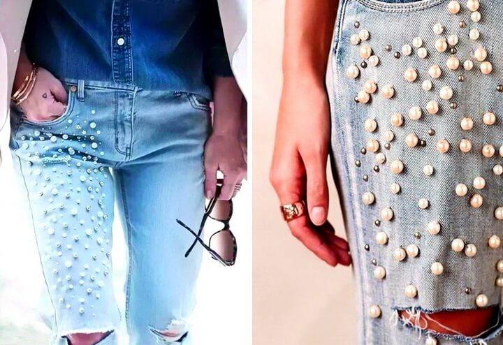 джинсы с бусинами