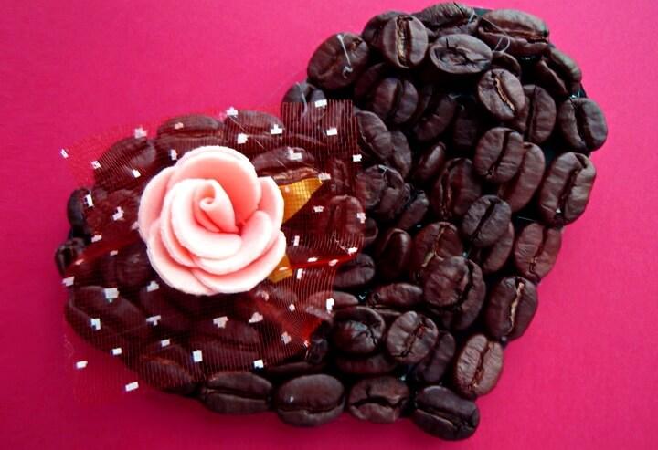 валентинка из кофе