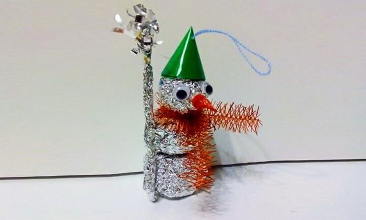снеговик из фольги